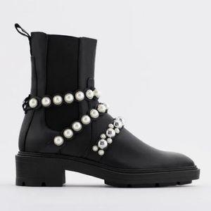 Zara Pearl Booties Size 6.5